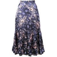 Jill Stuart Saia Midi Floral - Azul