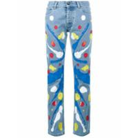 Mirco Gaspari Calça Jeans Reta Estampada - Azul