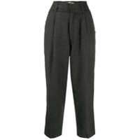 Haikure Pleated Waist Cropped Trousers - Cinza