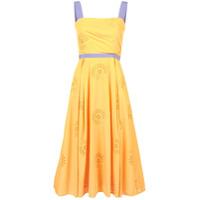 Carolina Herrera Vestido Midi Brocado Floral - Amarelo