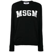 Msgm Suéter College Com Logo - Preto