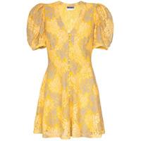 Rotate Vestido De Jacquard Floral - Amarelo