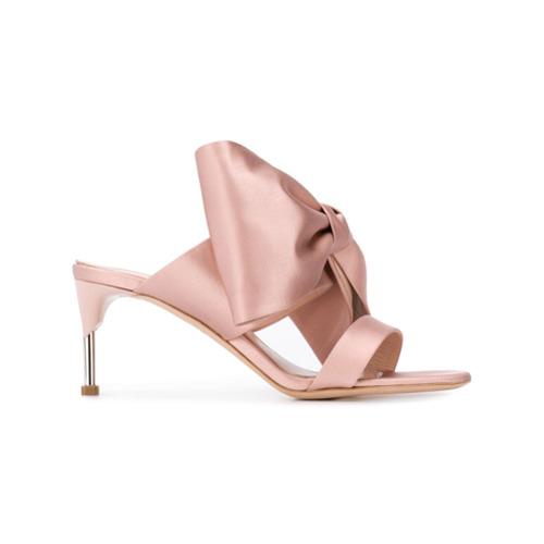 Imagem de Alexander McQueen pin heel satin bow mules - Rosa