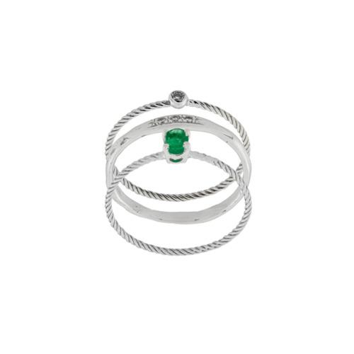 Imagem de Wouters & Hendrix Gold Conjunto de três anéis 'Emerald & Diamond' - Metálico