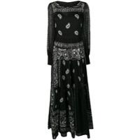 Black Coral Vestido Longo Mangas Longas Com Estampa Paisley - Preto