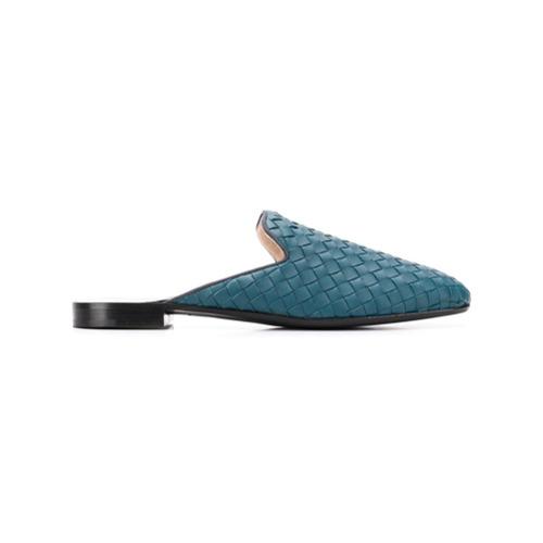 Imagem de Bottega Veneta Slippers de couro 'Fiandra' - Azul