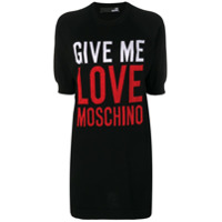 Love Moschino Slogan Print T-Shirt - Preto