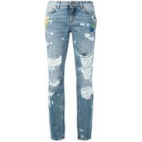 Dolce & Gabbana Calça Jeans Boyfriend Com Detalhes Desfiados - Azul