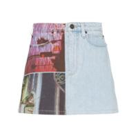 Calvin Klein Jeans Est. 1978 Saia Jeans Com Estampa Gráfica - Azul