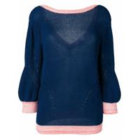 Chiara Bertani Suéter De Tricô Com Decote Em V Posterior - Azul