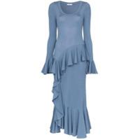 Erdem Vestido Com Babado - Azul