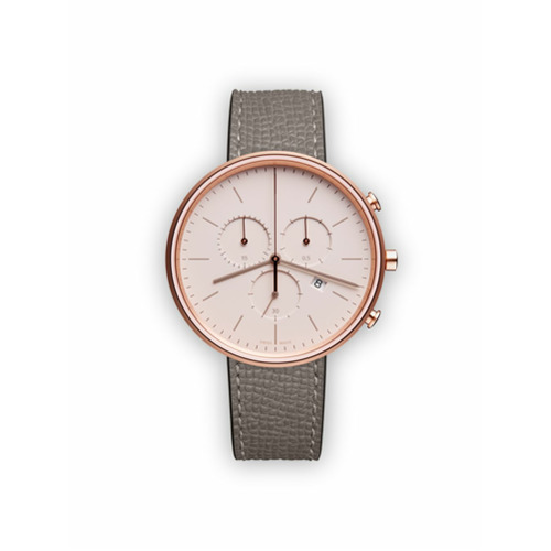 Uniform Wares Relógio 'M40 Chronograph' de couro e aço inoxidável - Cinza