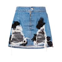 Almaz Saia Jeans Com Renda - Azul