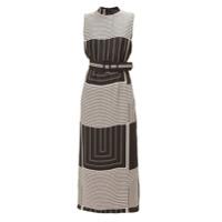 Allmost Vintage Vestido Longo Padronagem Geométrica - Preto&branco