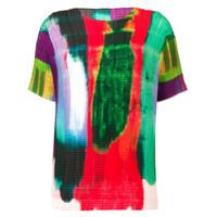 Issey Miyake Camiseta Com Estampa E Pregas - Vermelho