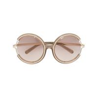 Chloé Eyewear Óculos De Sol 'jayme' Com Armação Redonda - Neutro