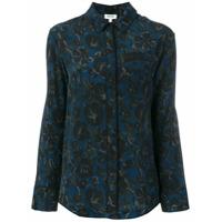 Kenzo Camisa De Seda 'floral Leaf' - Azul