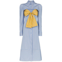 Silvia Tcherassi Silene Pinstripe Chest Insert Midi Shirt Dress - Azul