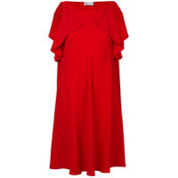 Red Valentino Vestido Largo Com Babado - Vermelho