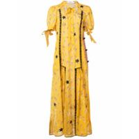 Coach Vestido Estampado Com Amarração - Amarelo