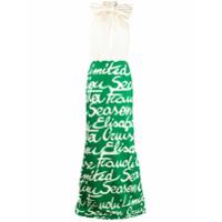 Elisabetta Franchi Vestido Longo Com Estampa De Texto - Verde