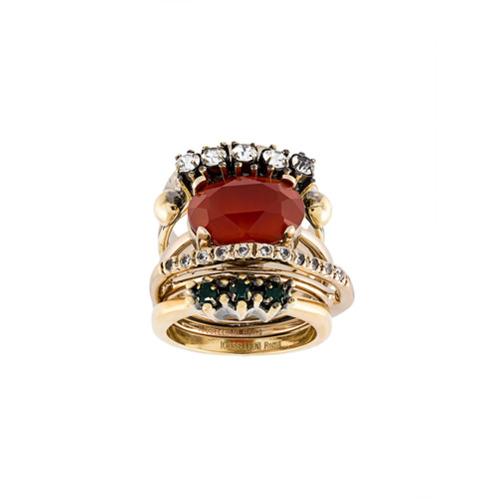 Imagem de Iosselliani Conjunto de anéis com banho de ouro - Metálico