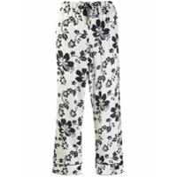 Alexa Chung Calça Cropped Com Estampa Floral - Branco