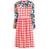 Batsheva Vestido Com Contraste - Vermelho