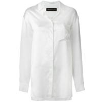 Alexandre Vauthier Camisa Acetinada De Seda - Branco