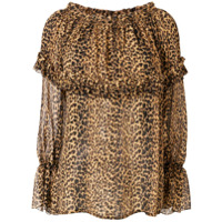 Saint Laurent Blusa De Seda Com Estampa Leopardo - Marrom