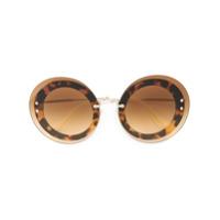 Miu Miu Eyewear Óculos De Sol Redondo - Marrom