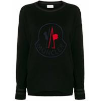 Moncler Suéter Com Logo Bordado - Preto
