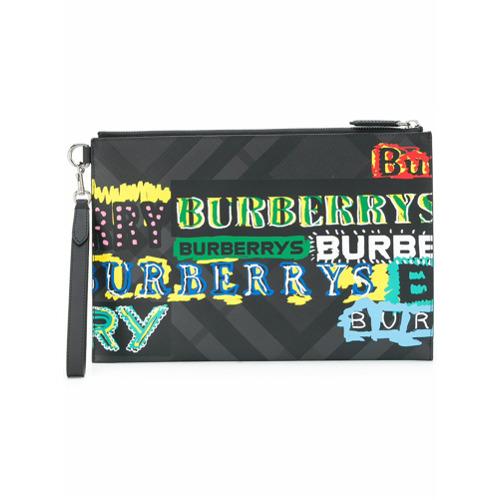 Imagem de Burberry Bolsa clutch estampada de couro - Preto