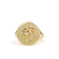 Noush Anel Daric Power De Ouro 14K Com Diamante E Esmeralda - Dourado