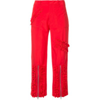 Molly Goddard Ruched Stripe Cropped Trousers - Vermelho