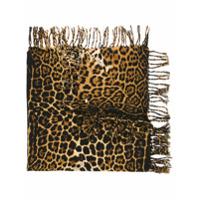 Saint Laurent Cachecol De Lã Com Estampa Leopardo - Marrom