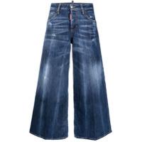 Dsquared2 Calça Jeans Pantalona Com Efeito Desbotado - Azul