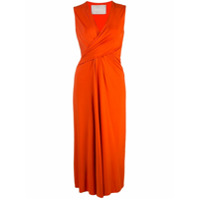 Jason Wu Collection Vestido Midi Gola V - Laranja