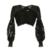 Zimmermann Cropped Pompom Top - Preto