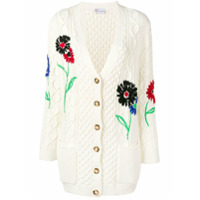 Red Valentino Red Valentino Embroidered Floral Cable Knit Cardigan - Branco