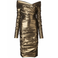 Dolce & Gabbana Vestido Midi Drapeado - Dourado