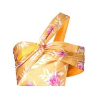 Amur Blusa Assimétrica Com Estampa Floral - Amarelo