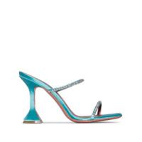 Amina Muaddi Sapato Mule Gilda 95 De Cetim Azul