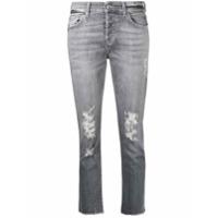 7 For All Mankind Calça Jeans Cropped Com Efeito Destroyed - Cinza