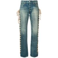 Tu Es Mon Trésor Calça Jeans Capri Com Laço Lateral - Azul