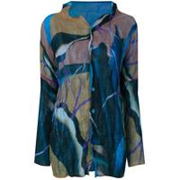 Issey Miyake Camisa Estampada Com Pregas - Azul