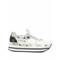 White Premiata Sequinned Platform Sneakers - Branco