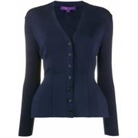 Ralph Lauren Collection Cardigan De Cashmere Gola V - Azul