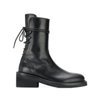 Ann Demeulemeester Reverse Lace Up Ankle Boots - Preto