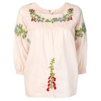 Local Blusa Com Bordado Floral - Neutro